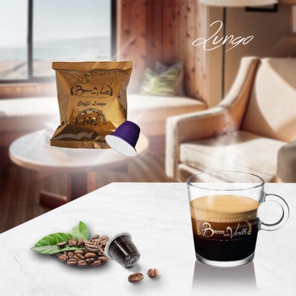 Taza de Café Lungo y cápsulas compatibles Nespresso Bocca della Verità